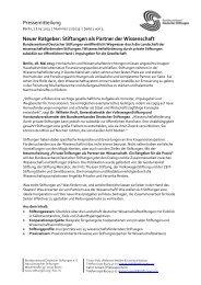 Stiftungen als Partner der Wissenschaft - Stiftung Mercator