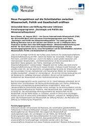 Neues Forschungsprogramm am FIW - Stiftung Mercator