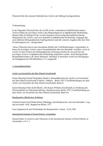 Übersicht über die externen Findmittel des Archivs der Stiftung
