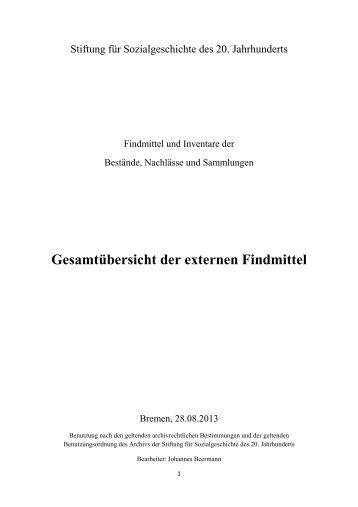Gesamtübersicht der externen Findmittel - Stiftung für ...