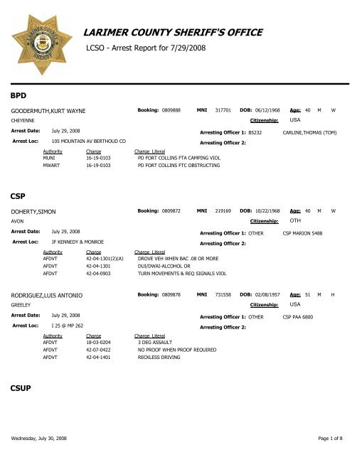 LARIMER COUNTY SHERIFF'S OFFICE - The Coloradoan