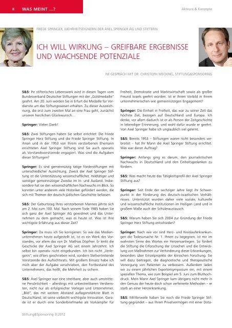 Kostenfreier Download des Interviews (PDF) - Stiftung & Sponsoring