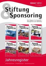 Download des Jahresgisters 2012 - Stiftung & Sponsoring