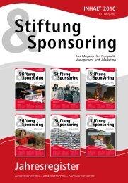 Download des Jahresregisters 2010 - Stiftung & Sponsoring