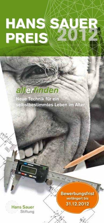 Flyer zum Hans Sauer Preis 2012 - Hans Sauer Stiftung