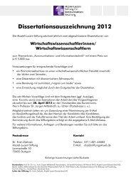 Dissertationsauszeichnung 2012 - Alcatel-Lucent Stiftung für ...