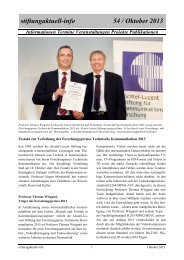stiftungaktuell-info 54 / Oktober 2013 - Alcatel-Lucent Stiftung für ...