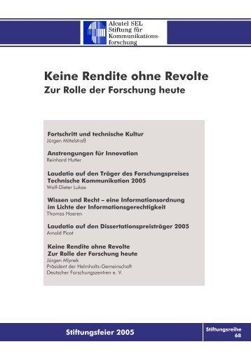 Keine Rendite ohne Revolte - Alcatel-Lucent Stiftung für ...