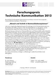 Forschungspreis Technische Kommunikation 2012 - Alcatel-Lucent ...