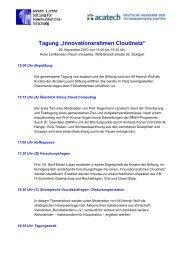 """Tagung """"Innovationsrahmen Cloudnetz"""" - Alcatel-Lucent Stiftung für ..."""