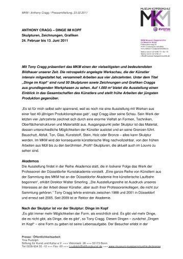 Pressemitteilung - Stiftung für Kunst und Kultur eV