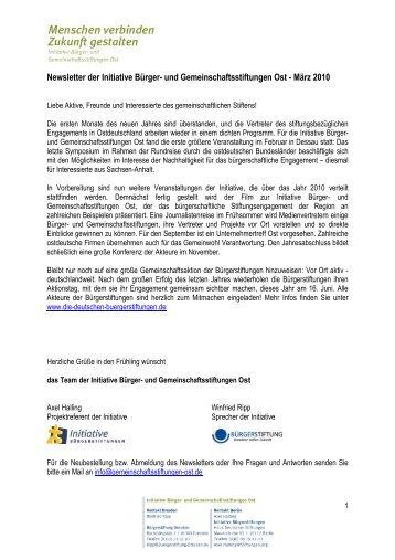 Newsletter 2010/01 (pdf; 153 kB) - Stiftungsinitiative Ost