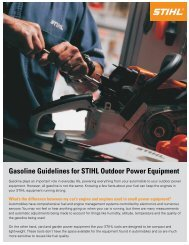 Gasoline Guidelines for STIHL Outdoor Power Equipment