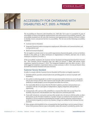 accessibility for ontarians with disabilities act, 2005 ... - Stikeman Elliott