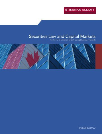 Securities Law and Capital Markets - Stikeman Elliott