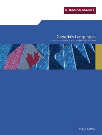 Canada's Languages - Stikeman Elliott