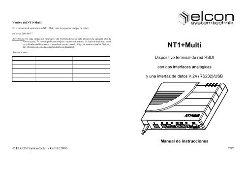 ELCON NT1 MULTI DRIVER FOR WINDOWS