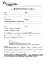 Formulaire d'inscription au cursus pour la préparation à l'examen de ...