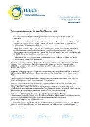 Zulassungsbedingungen für das IBLCE Examen 2013