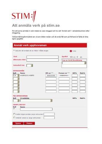 Att anmäla verk på stim.se