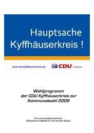 Wahlprogramm der CDU Kyffhäuserkreis zur Kommunalwahl 2009