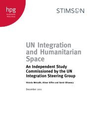 UN Integration and Humanitarian Space - The Stimson Center