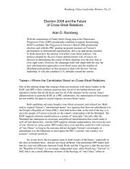 Election 2008 and the Future of Cross-Strait ... - Hoover Institution