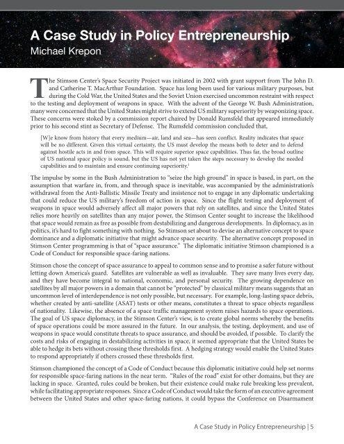 A Case Study in Policy Entrepreneurship - The Stimson Center