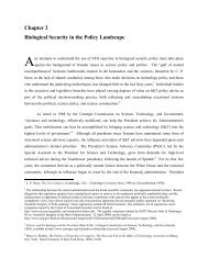 Biological Security in the Policy Landscape - The Stimson Center