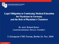 3. European CME Forum, Berlin 16. Nov. 2010 Legal Obligation to ...