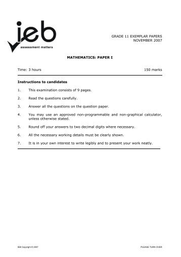 mathematics papers grade 11 Question papers: grade 11 nov 2014 paper 1 grade 11 paper 1 memo_nov 2014 2 mathematics-p1-grade-11-nov-2015-eng mathematics-p1-grade-11-nov-2015-memo 3.