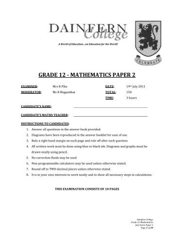 Grade 11 Term 3 Cycle Tests and Exams