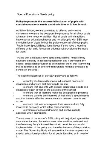 Model Special Educational Needs policy - St Ivo School