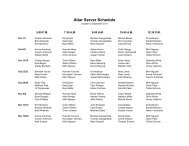 Altar Server Schedule - St. Joan of Arc Catholic Church