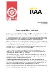 A new partnership to aid drivers - St John Ambulance SA
