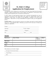 St. John's College Application for Employment