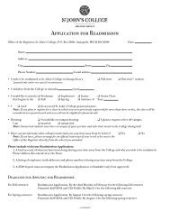 Printable Readmission Application - St. John's College