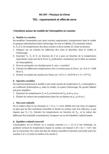 TD1 - rayonnement et effet de serre - LMD