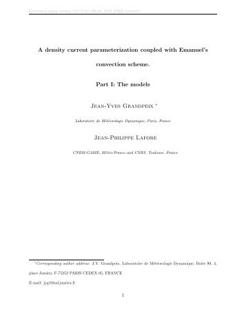 A density current parameterization coupled with Emanuel's ... - LMD