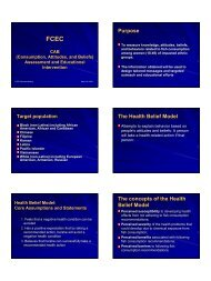 Purpose The Health Belief Model The concepts of the Health Belief ...