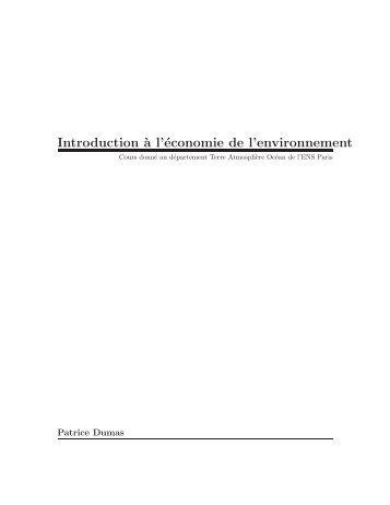 Introduction `a l'économie de l'environnement - LMD
