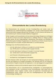 Antrag für die Ehrenamtskarte des Landes Brandenburg