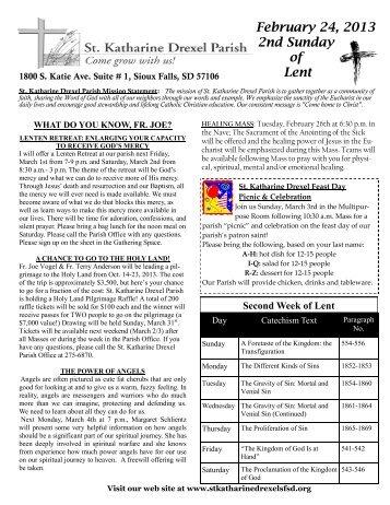 February 24, 2013 Bulletin (PDF-3996K) - Saint Katharine Drexel ...