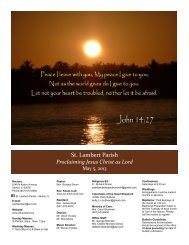 May 05, 2013 -- 6th Sunday of Easter - St. Lambert Parish