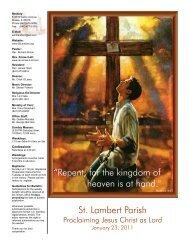 """St. Lambert Parish """"Repent, for the kingdom of heaven is at hand."""