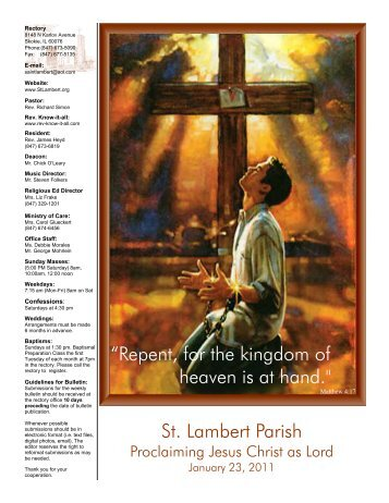 "St. Lambert Parish ""Repent, for the kingdom of heaven is at hand."""