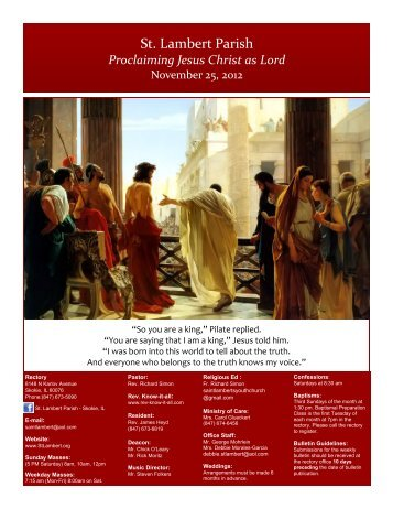 Proclaiming Jesus Christ as Lord - St. Lambert Parish