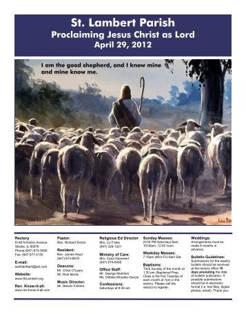 St. Lambert Parish Proclaiming Jesus Christ as Lord April 29, 2012