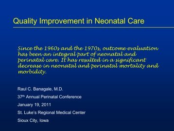 Quality Improvement in Neonatal Care - St. Luke's Health System