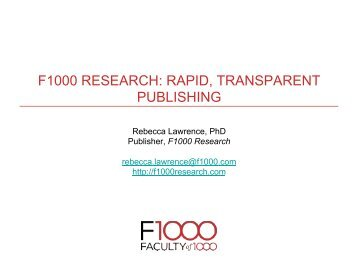 F1000 RESEARCH: RAPID, TRANSPARENT PUBLISHING - STM